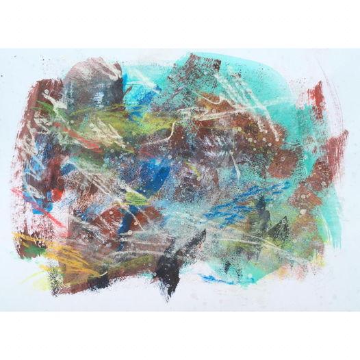 "Лето . Рисунок, акрил на бумаге, 29x40 | Summer | The ""Garden"" series, framed"