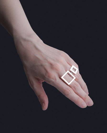 Женское серебряное кольцо КВАДРАТ БОЛЬШОЙ