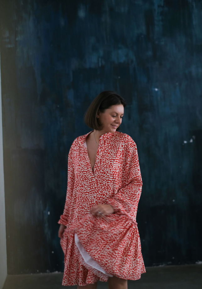 Платье из 100% вискозы леопардовый принт