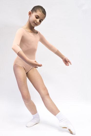 Детский купальник 2 Рукава | телесный для балета