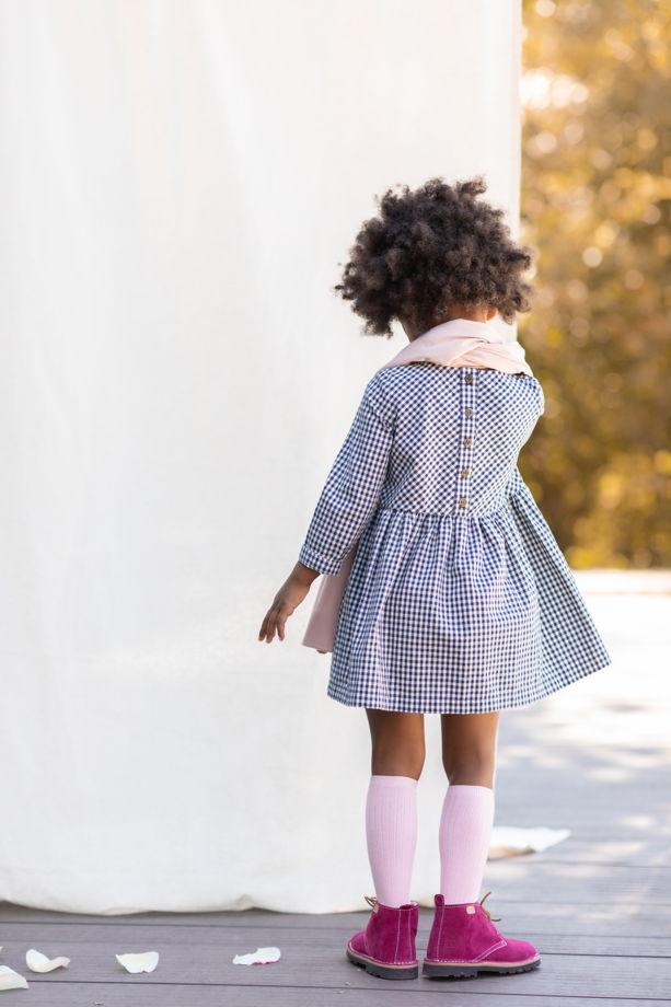 Платье для девочки (бело-синий в клетку)