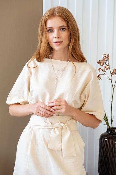 Платье прямое длины миди Амалия, кремовый