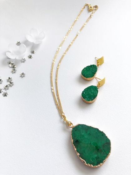 Комплект серьги+ожерелье с жеодой
