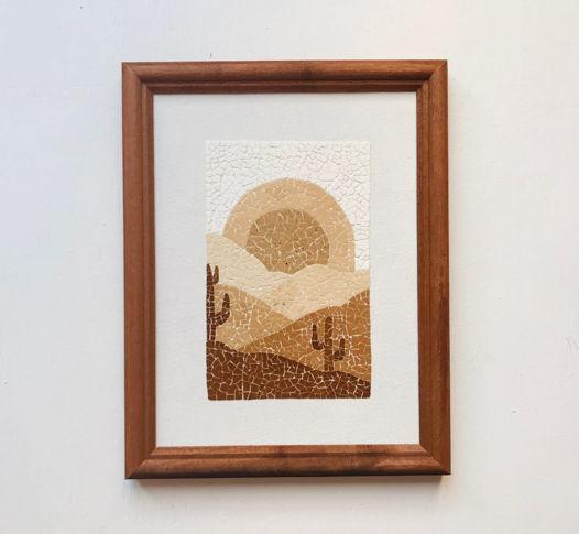 """Картина """"Восход"""" ручной работы из яичной скорлупы натуральных оттенков"""