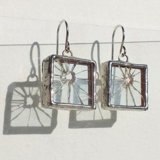 Серьги из прозрачного стекла Разбитое стекло