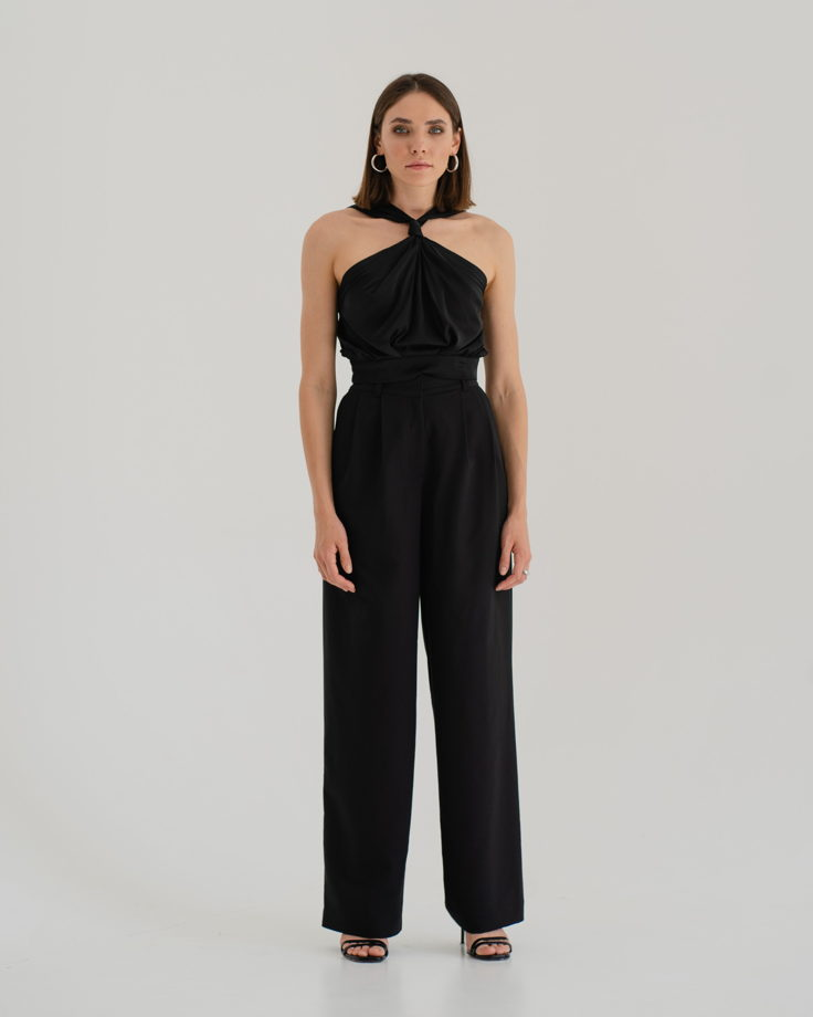 Черные брюки палаццо из костюмной ткани (подходят на осень, весну, лето)