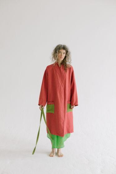 льняной халат с поясом *фуксия + зеленый*