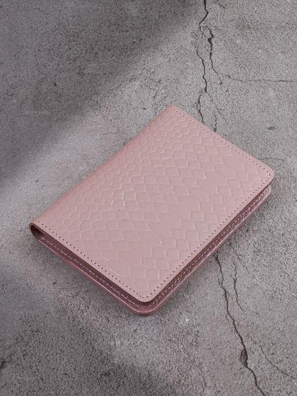 """Обложка для паспорта """"Евро"""" с вкладышем для автодокументов Нежно-розовый"""