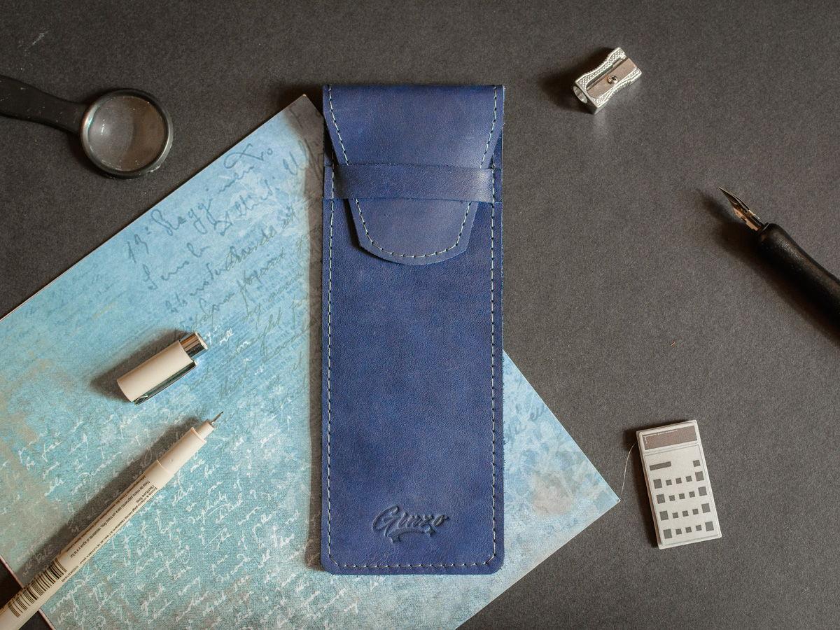 Пенал из натуральной кожи -LANCE- цвет Синий