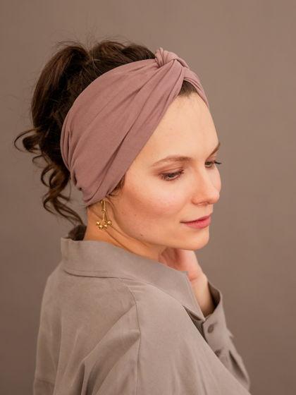 Повязка - чалма для волос, пыльно-розовая из мягкого трикотажа