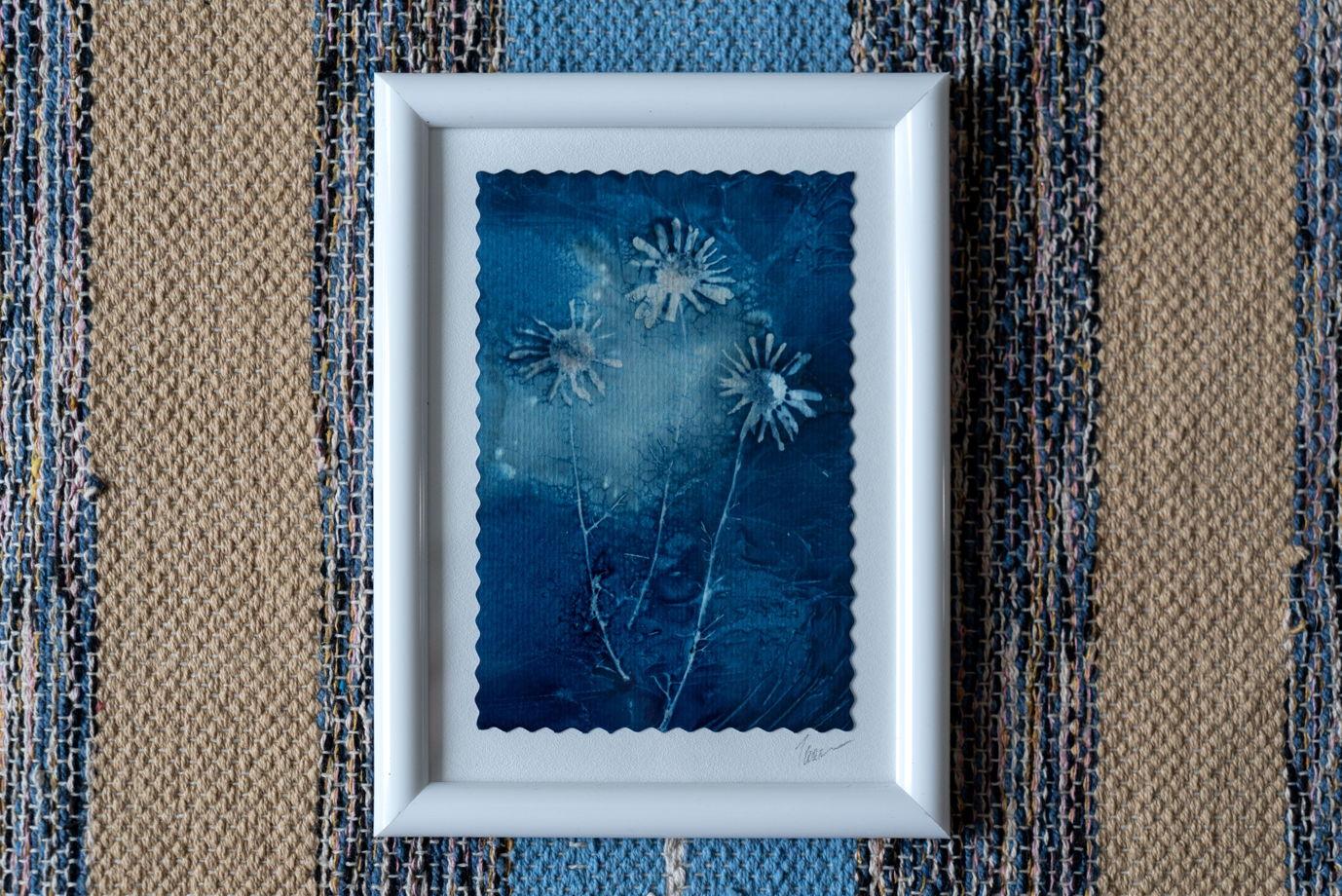 "Фотограмма ""Маленькие ромашки"" в технике   wet cyanotype"