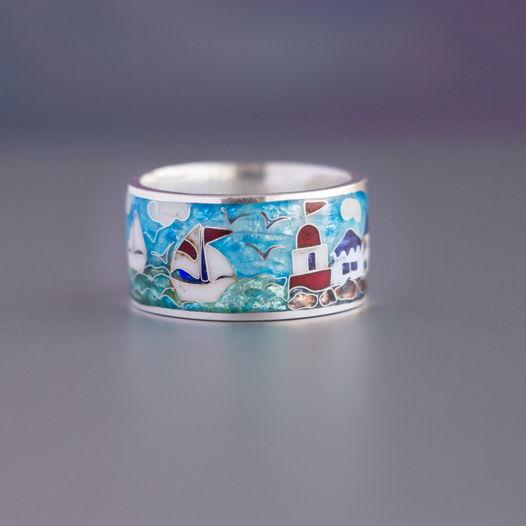Кольцо серебряное с горячей перегородчатой эмалью «Морское»