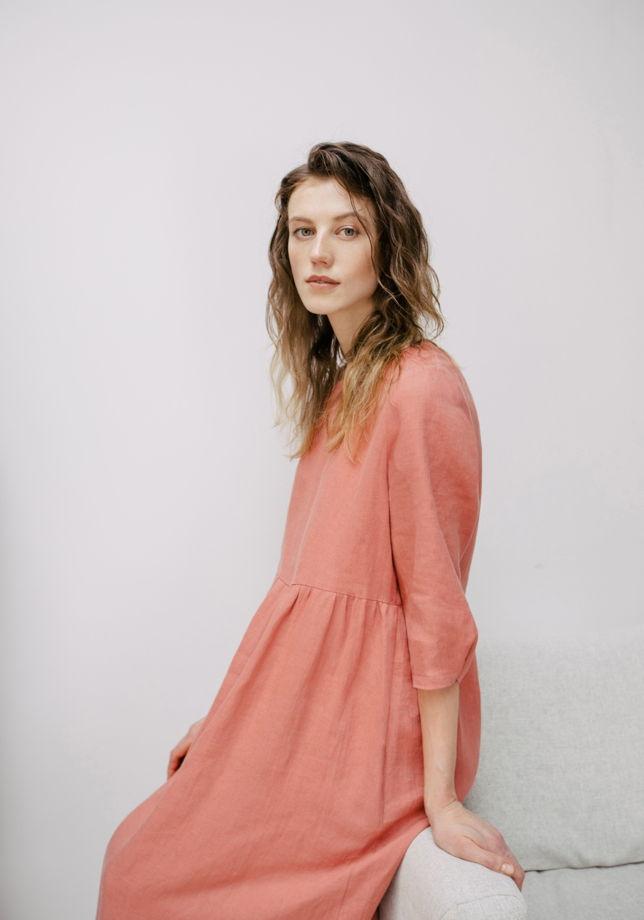 Платье из мягкого льна, розовый