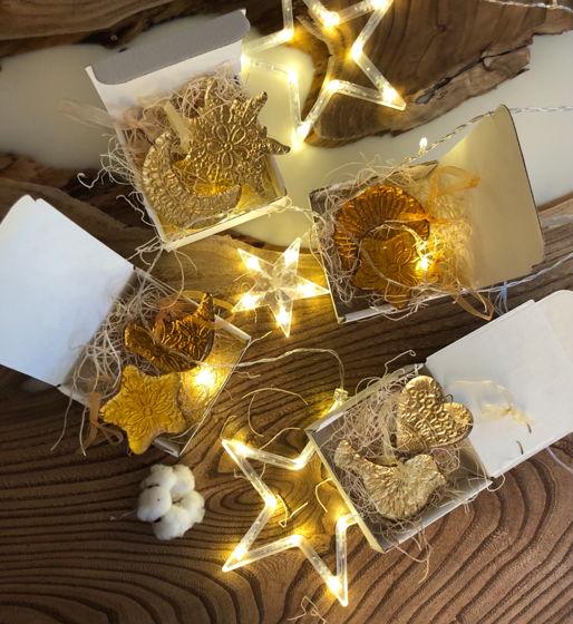 Набор золотых  новогодних елочных игрушек из стекла