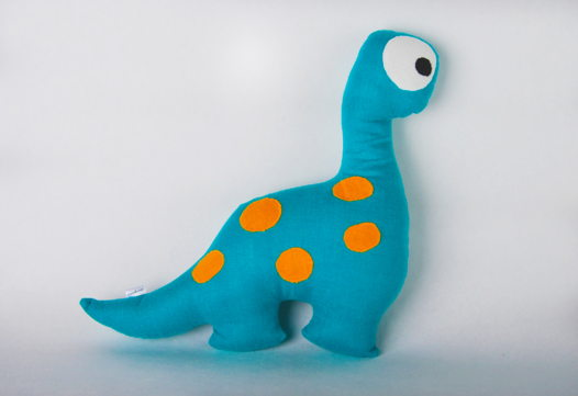 """Подушка игрушка """"Динозавр голубой ручной работы изо льна"""""""