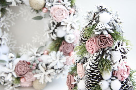 Рождественский венок и елочка средняя (комплект)
