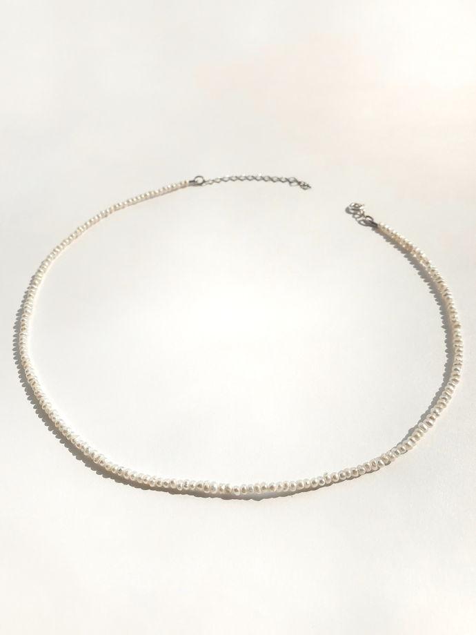 Серебряное колье чокер с культивированным жемчугом