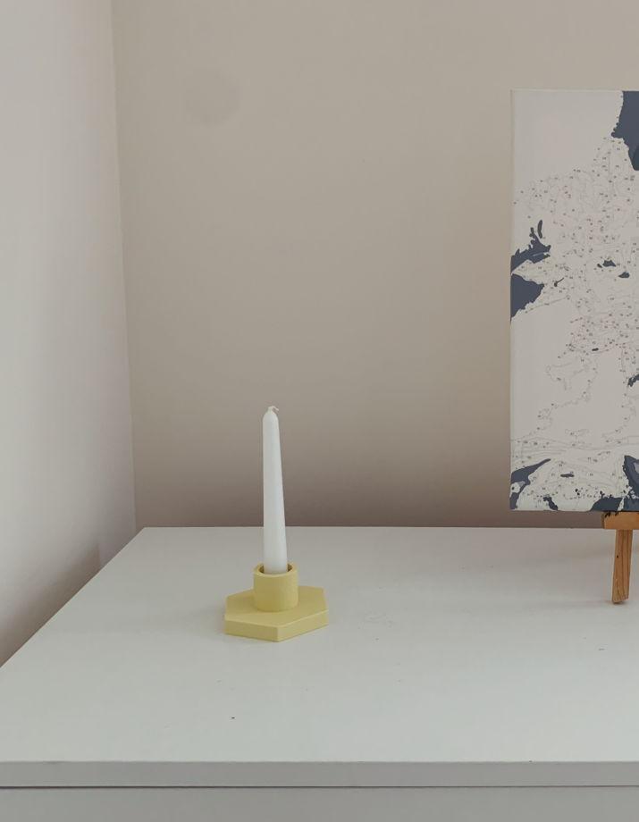 Лимонный подсвечник-держатель для свечей и пало-санто