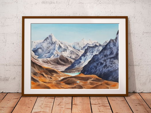 Акварельная картина Горы (38 х 28 см)