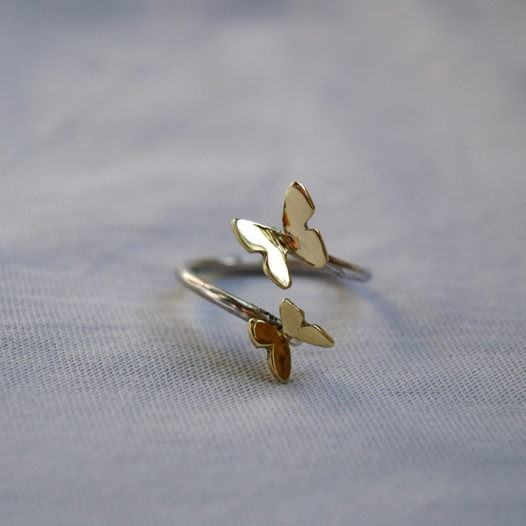 Разъемное серебряное кольцо Эффект бабочки