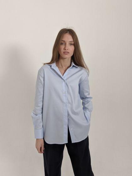 Рубашка женская boyfriend  из 100% хлопка. Один размер. Голубая.