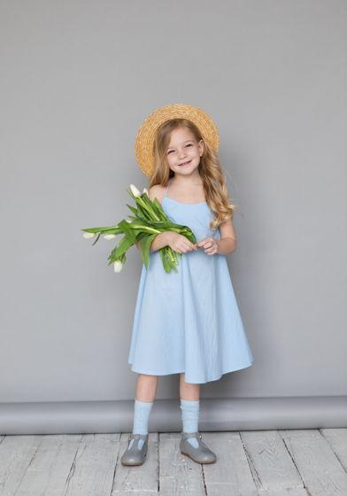 Сарафан для девочки из вареного хлопка (голубой)