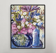 "Картина ""Цветы. Голубая свеча"" холст, масло"