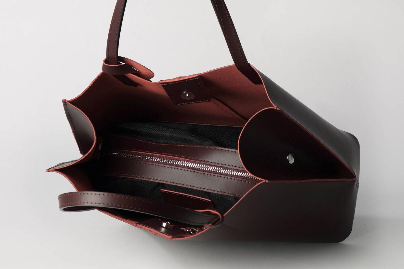 Элегантная женская  кожаная сумка винного оттенка - доставка 7/10 дней из Италии