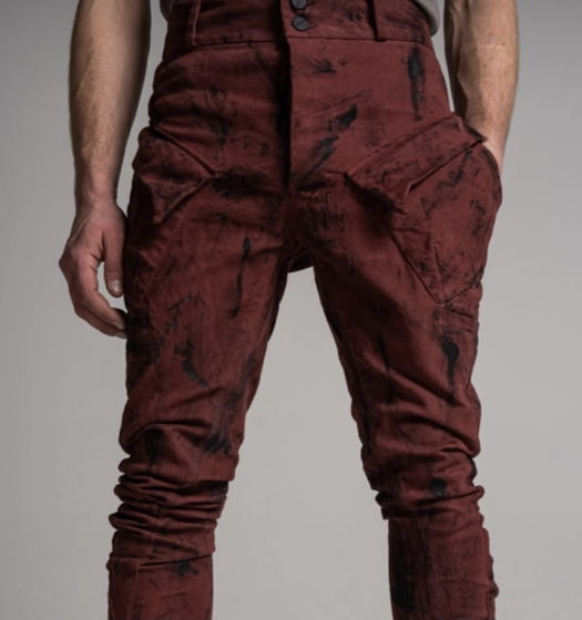 """брюки """"карго"""" j-образного кроя масляного вощения с эффектом винилового покрытия"""