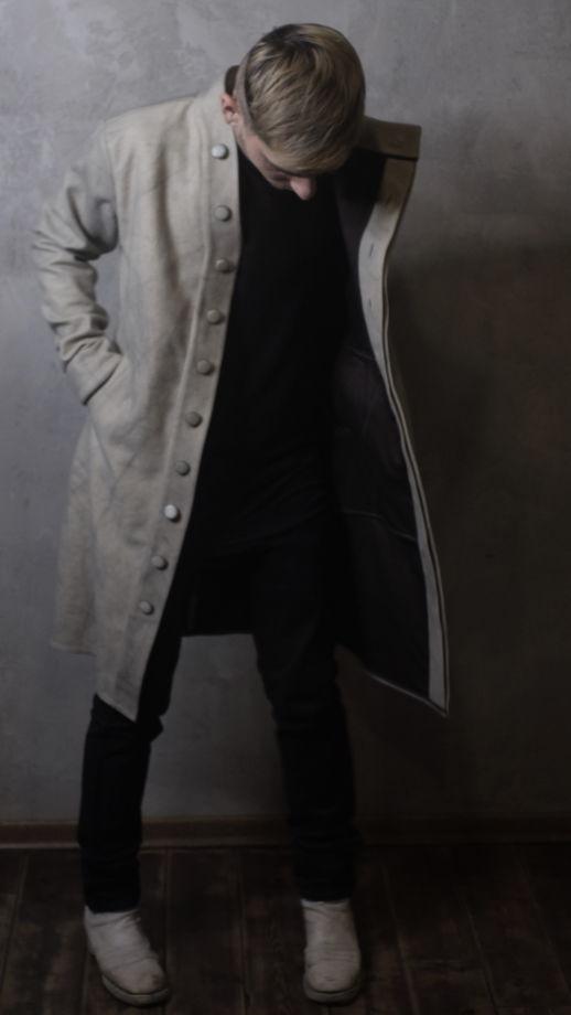 тренч пальто шерстяное ассиметричного кроя
