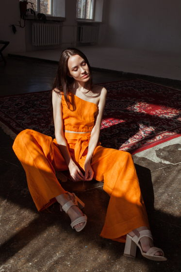 Льняные брюки женские широкие оранжевые Тыквенный Сок