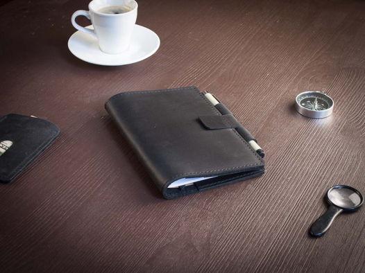 Кожаный деловой блокнот -BRAINSTORM- А6 цвет Черный Уголь