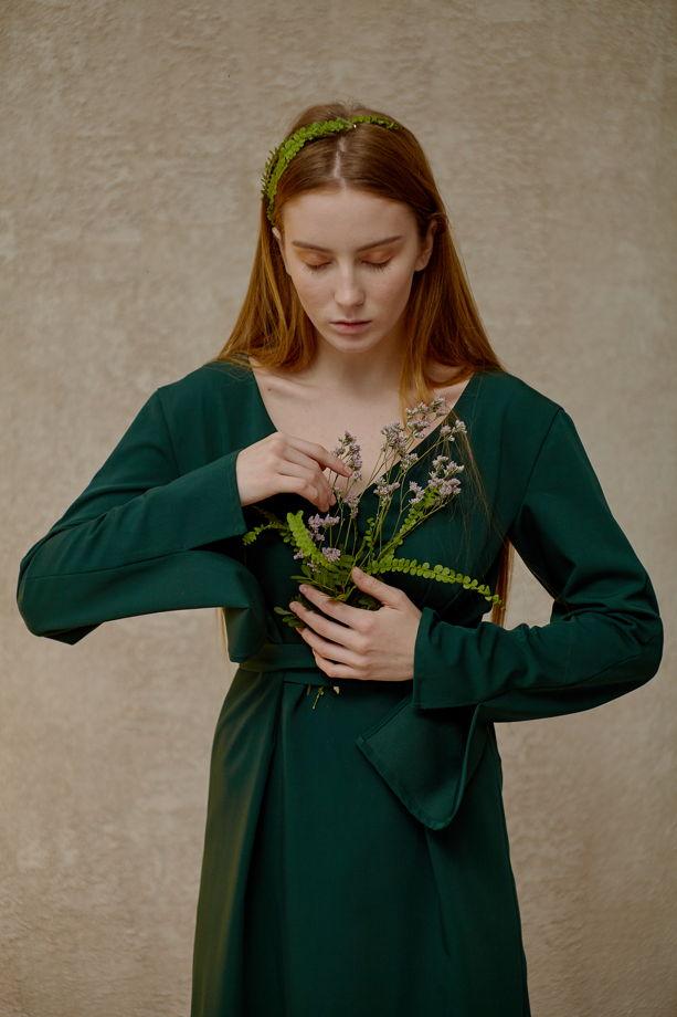 Платье-трансформер  с удлиненными рукавами и длинным поясом