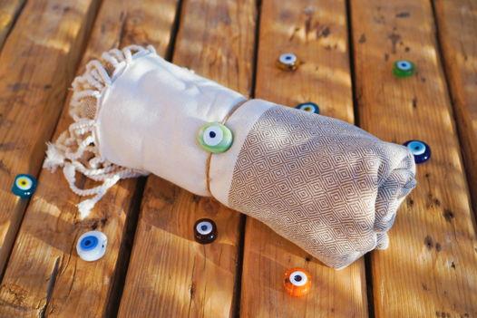 Бежевое полотенце-пештемаль из бамбука