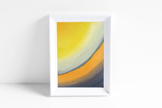 """Акварельный рисунок """"Лучи цвета: сине-оранжевый свет №1"""""""