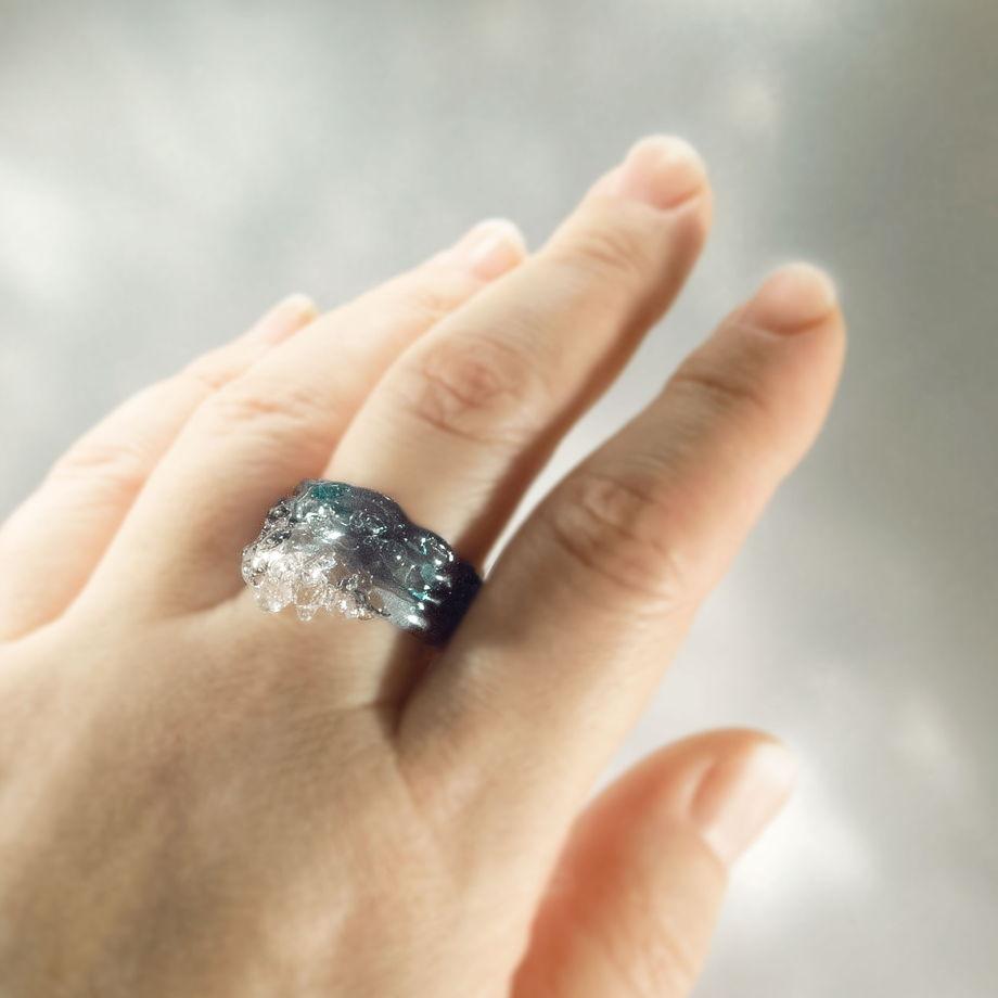 Кольцо Морской прибой (синее)