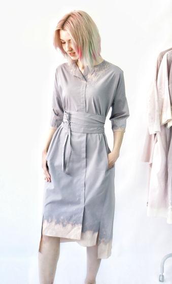 Платье Кимоно   серо-голубой