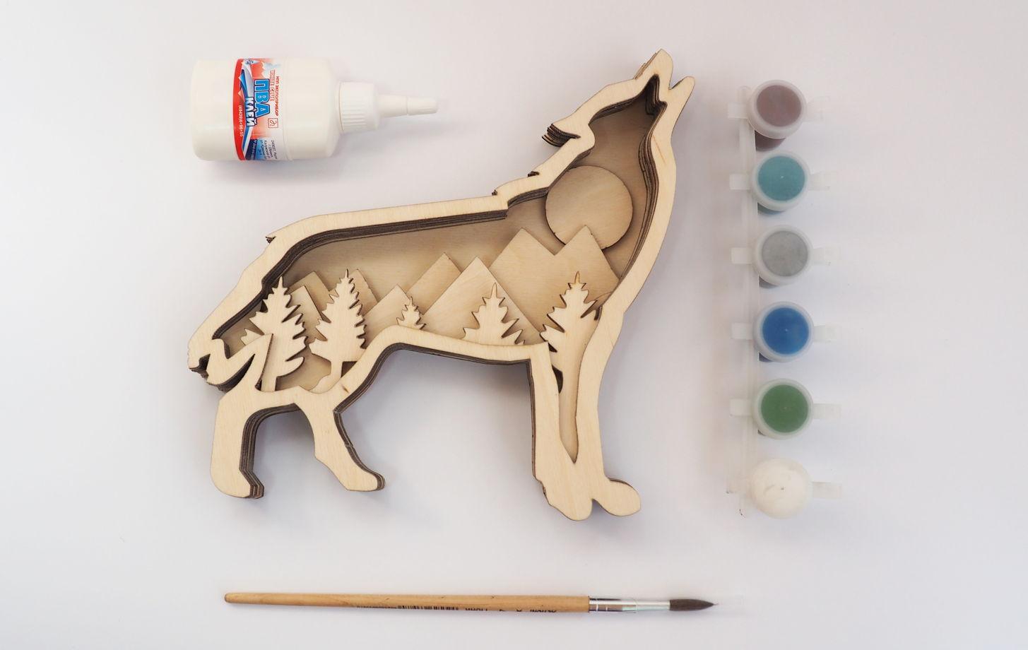 Набор для раскашивания. 3D картина на дереве. Волк