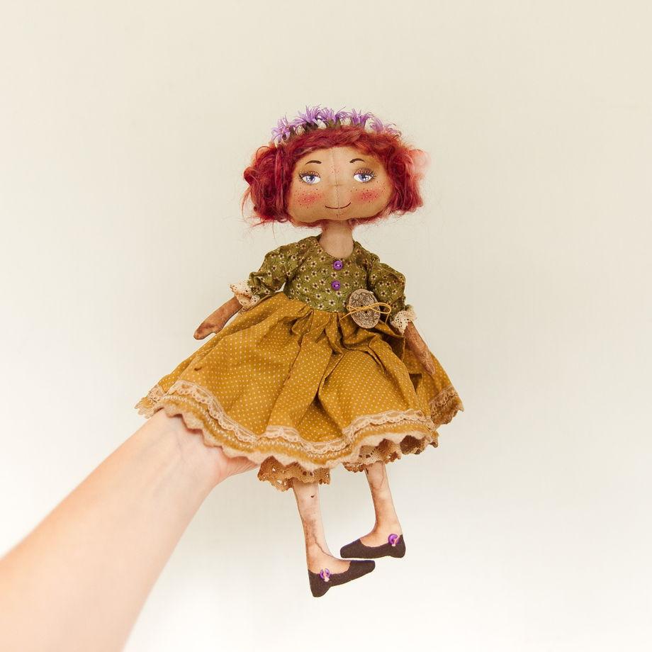 Интерьерная авторская кукла ручной работы и ее друг Гусь