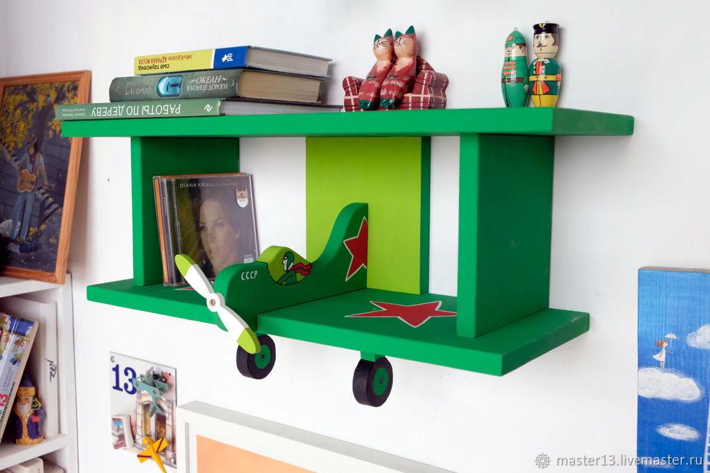 """Деревянный набор для сборки полки """"Самолет"""" зеленый."""