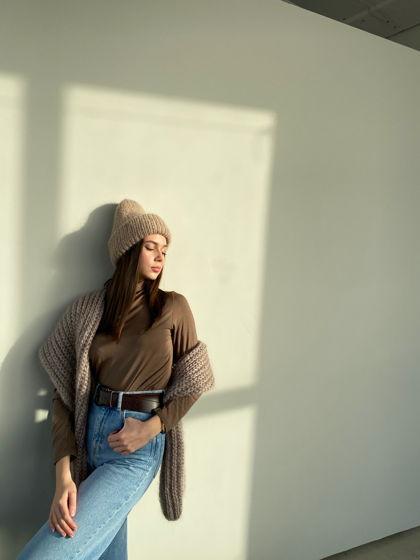 Комплект двухслойная шапка+шарф из мохера, цвет бежевый