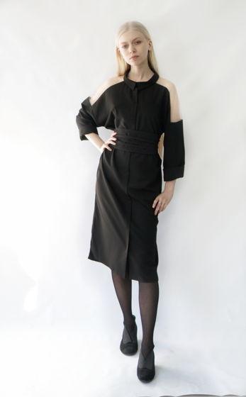 платье-рубашка Фражиль с прозрачным плечом | черный