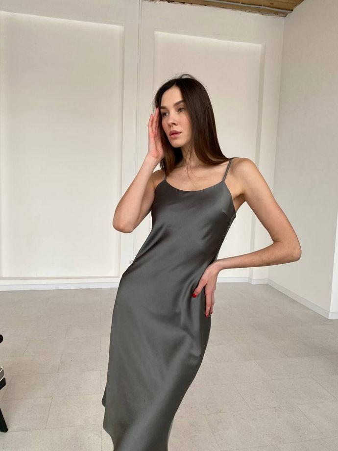 Платье-комбинация в графитовом цвете