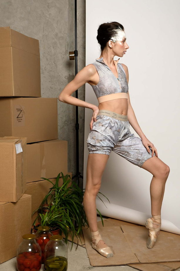 Удлинённые разогревающие шорты-сауна, испачканные принтом для спорта / йоги / фитнеса