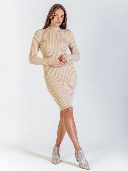 Платье бежевое Лапша