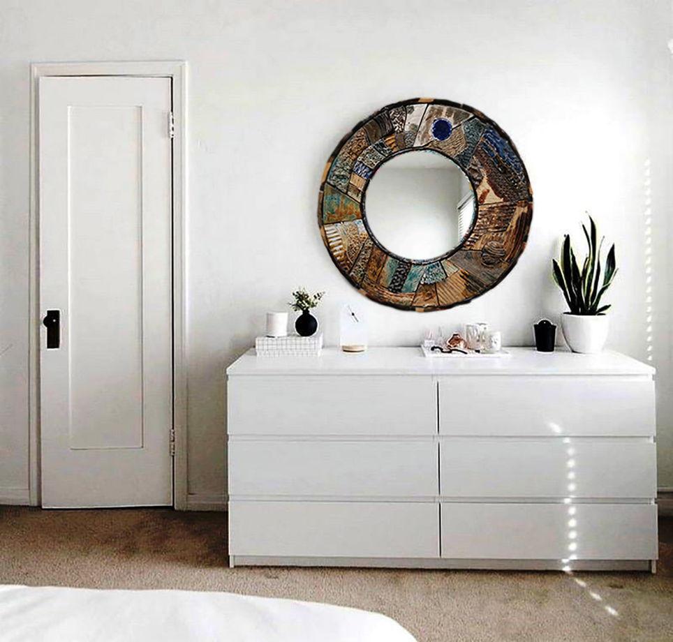 Зеркало круглое, интерьерное, в  керамической раме