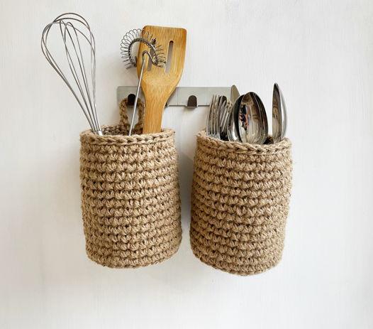 Набор маленьких подвесных корзин из джута для кухни/ ванной/ прихожей