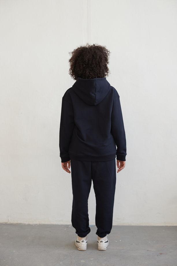 Спортивный костюм на флисе из 100% Индийского хлопка (темно-синий)