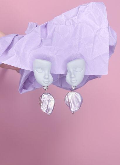 Серьги-гвоздики с розовым жемчугом