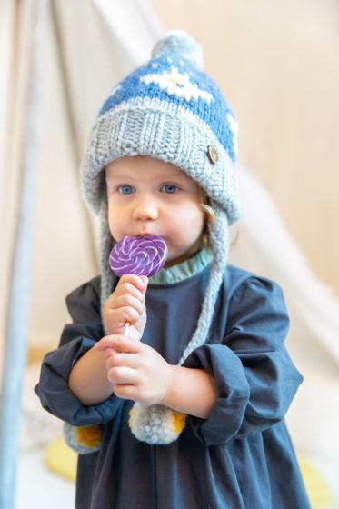 """Синяя детская зимняя вязаная шапка """"Совушка"""" с флисовым подкладом"""